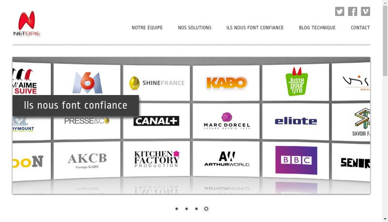 Capture d'écran du site de Netopie