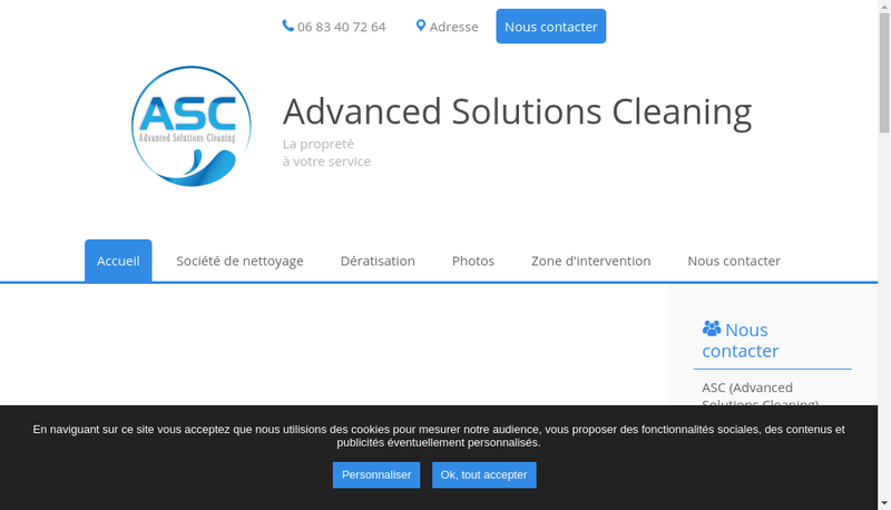 Capture d'écran du site de Advanced Solutions Cleaning