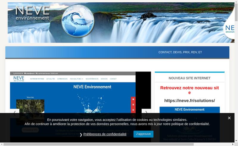 Capture d'écran du site de Neve Environnement