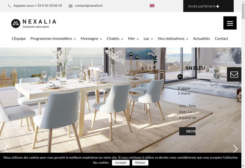 Capture d'écran du site de Nexalia