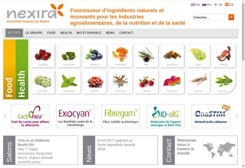Capture d'écran du site de Nexira