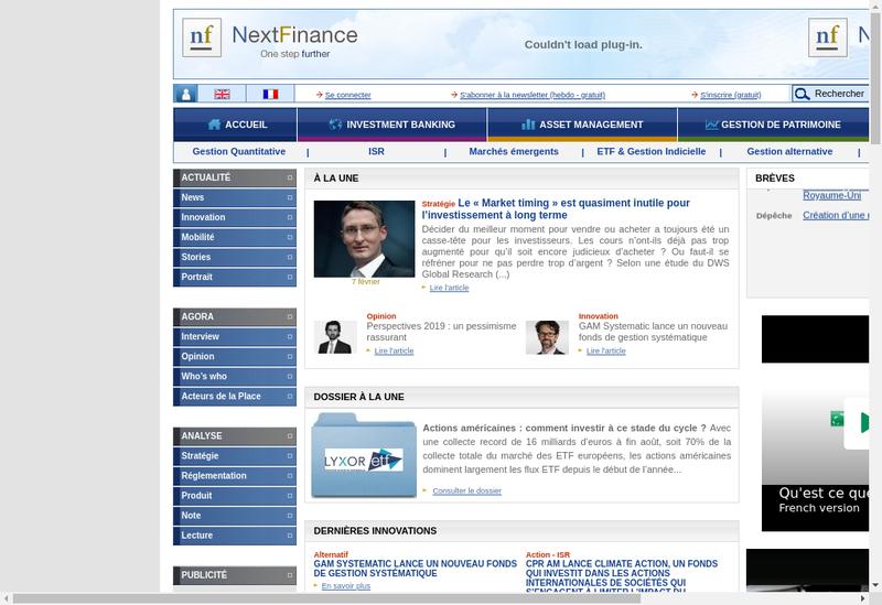 Capture d'écran du site de Next Finance