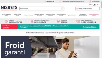 Site internet de Nisbets France