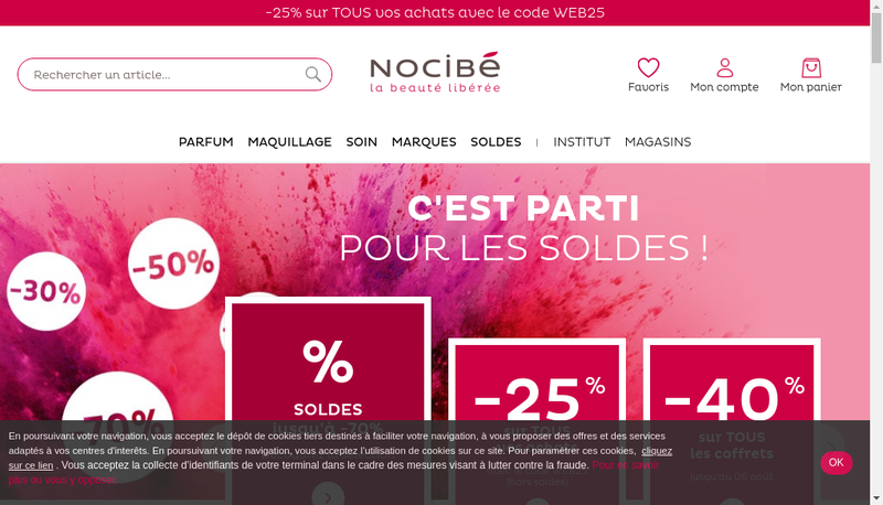 Capture d'écran du site de Nocibe France Distribution
