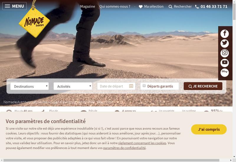 Capture d'écran du site de Nomade Aventure