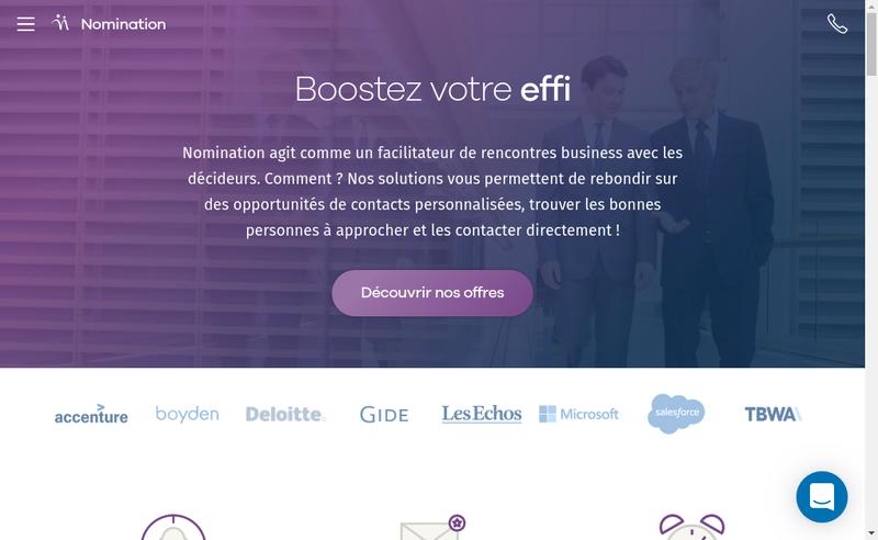 Capture d'écran du site de Nomination