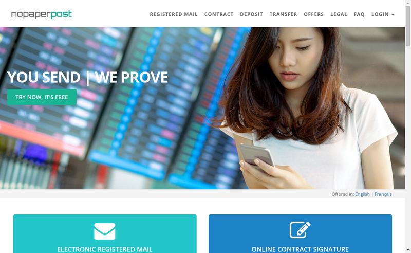 Capture d'écran du site de Nopaperpost