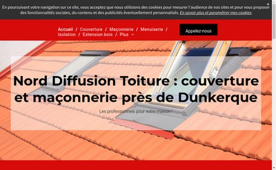 Site internet de Nord Diffusion Toiture