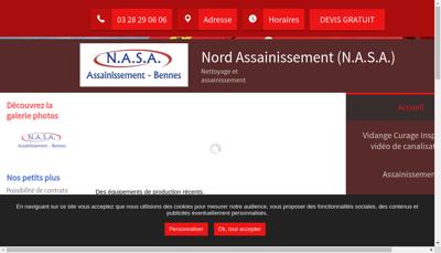 Capture d'écran du site de Nord Assainissement