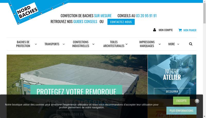 Capture d'écran du site de Nord Baches