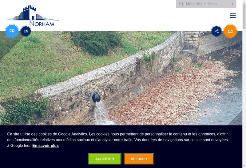 Capture d'écran du site de Norham