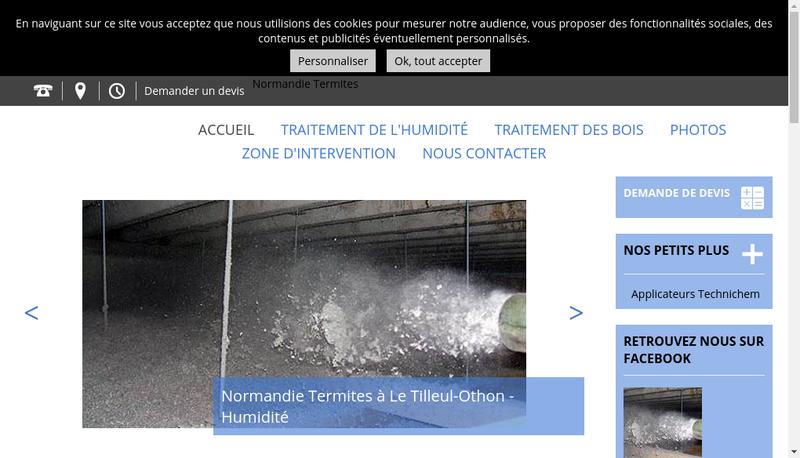 Capture d'écran du site de Normandie Termites