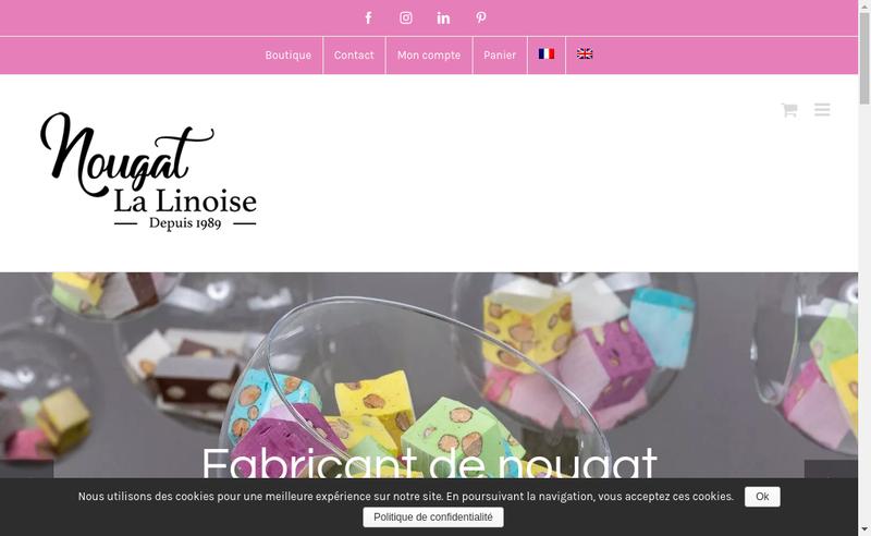 Capture d'écran du site de Nougat la Linoise