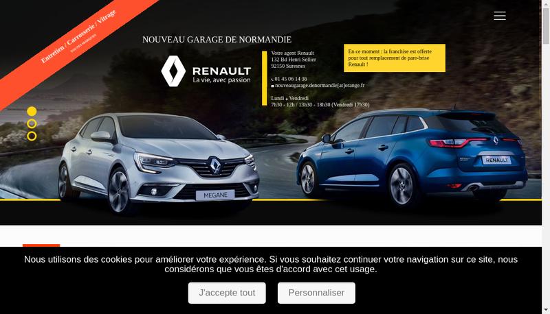 Capture d'écran du site de Nouveau Garage de Normandie