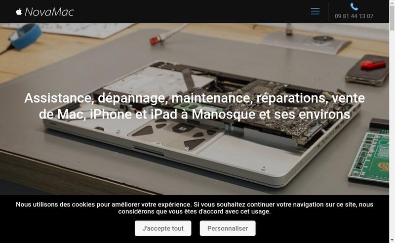 Capture d'écran du site de Novamac