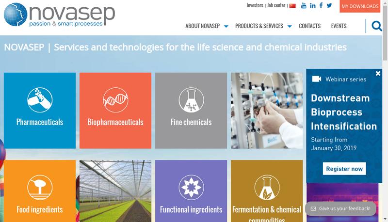 Capture d'écran du site de Novasep Process