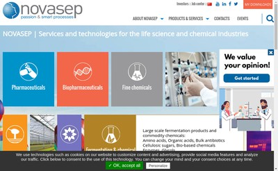 Site internet de Novasep Process
