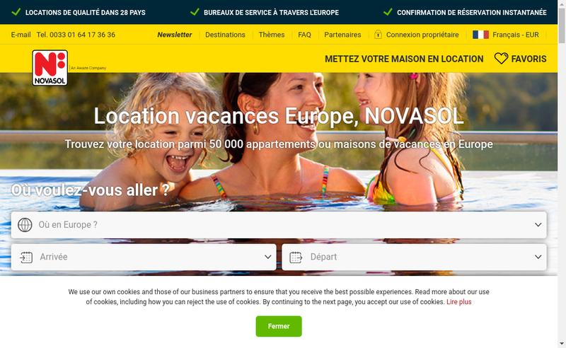 Capture d'écran du site de Novasol AS