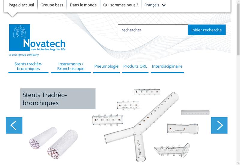 Capture d'écran du site de Novatech