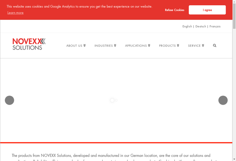 Capture d'écran du site de Novexx Solutions