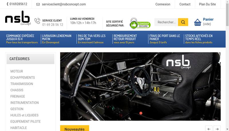 Capture d'écran du site de Nsb Concept