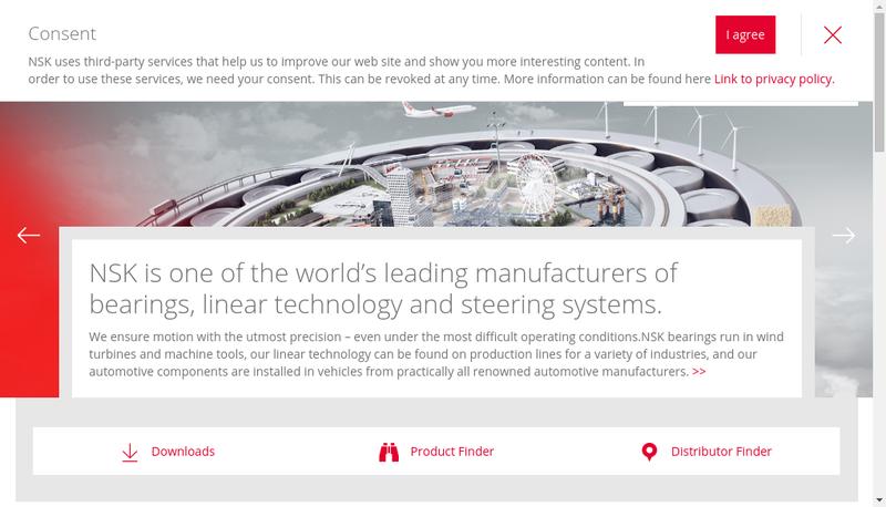 Capture d'écran du site de NSK