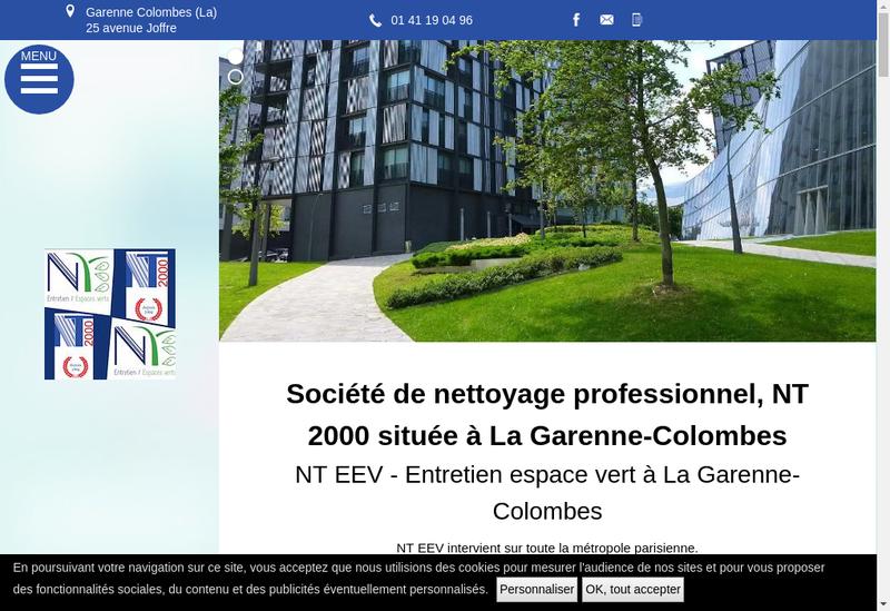 Capture d'écran du site de SARL Nt 2000