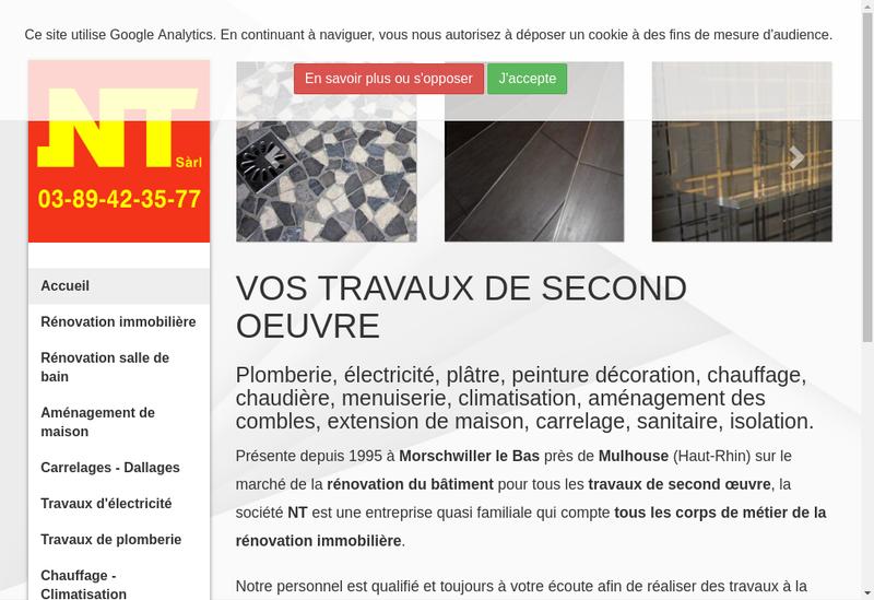 Capture d'écran du site de NT EURL