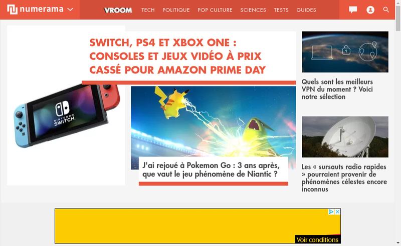 Capture d'écran du site de Numerama
