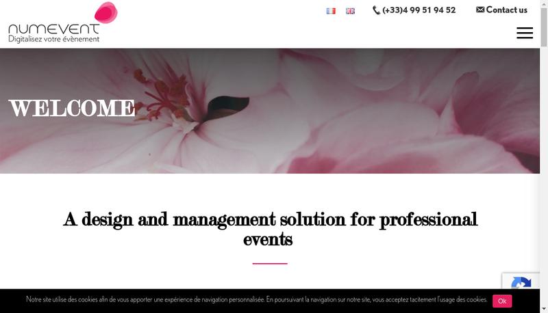 Capture d'écran du site de Numevent