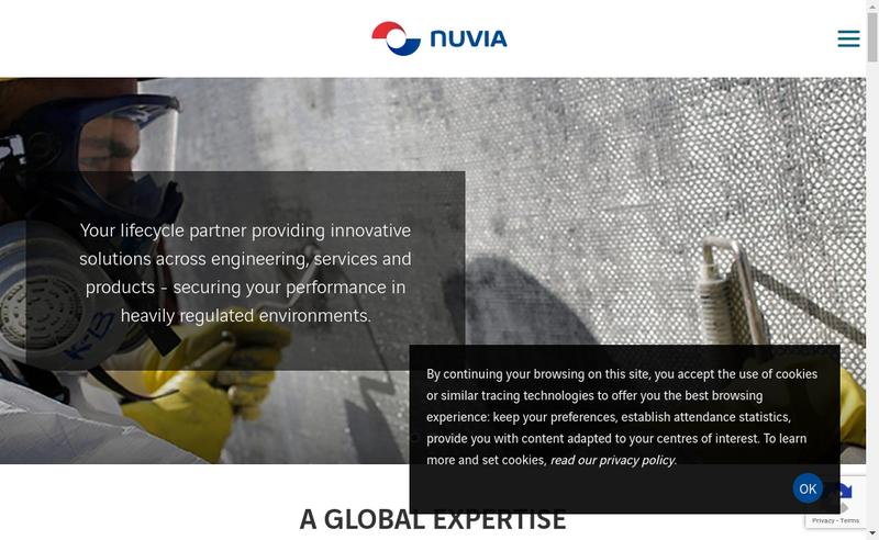 Capture d'écran du site de Nuvia Structure