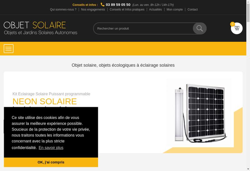 Capture d'écran du site de Objet Solaire