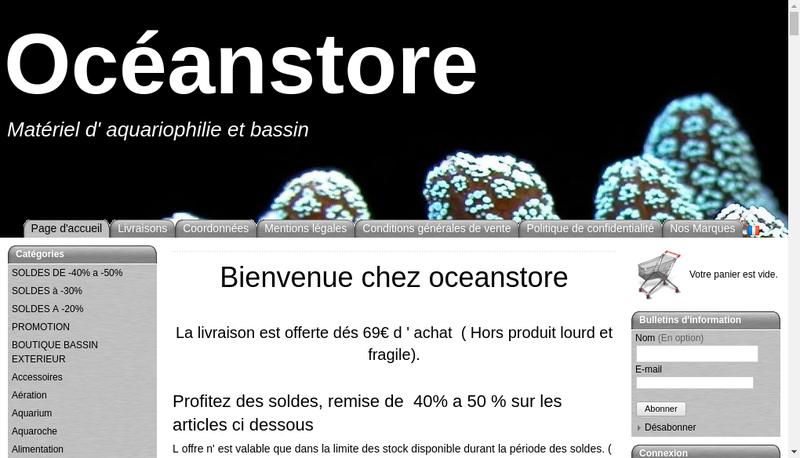Capture d'écran du site de Oceanstore