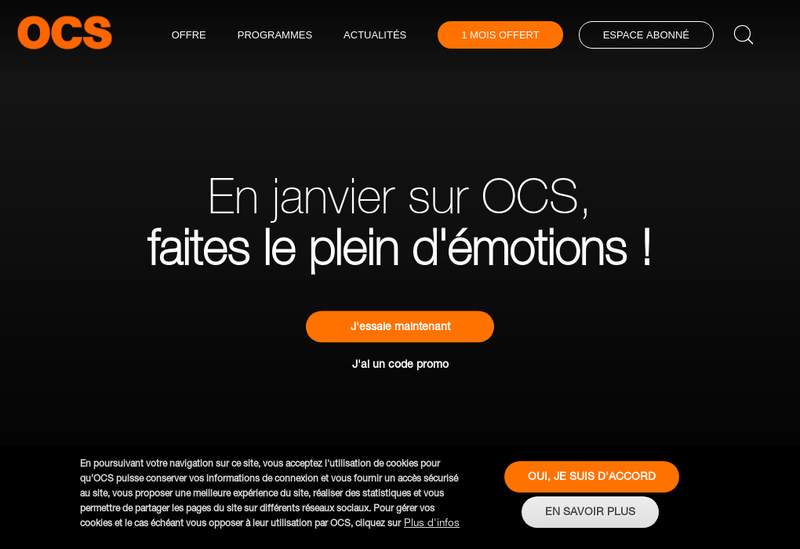 Capture d'écran du site de OCS
