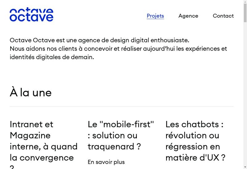 Capture d'écran du site de Octave & Octave