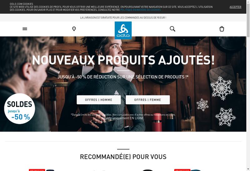 Capture d'écran du site de Odlo France