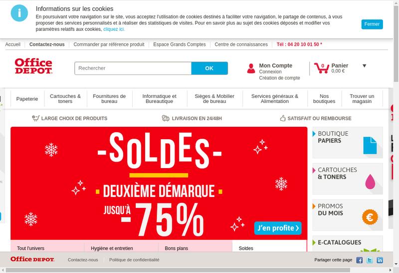 Capture d'écran du site de Office Depot France