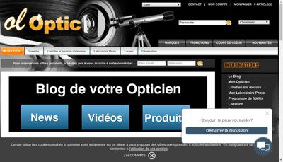 Capture d'écran du site de Ol Optic