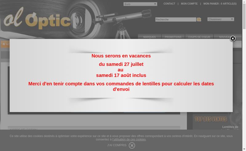 Capture d'écran du site de Ol'Optic