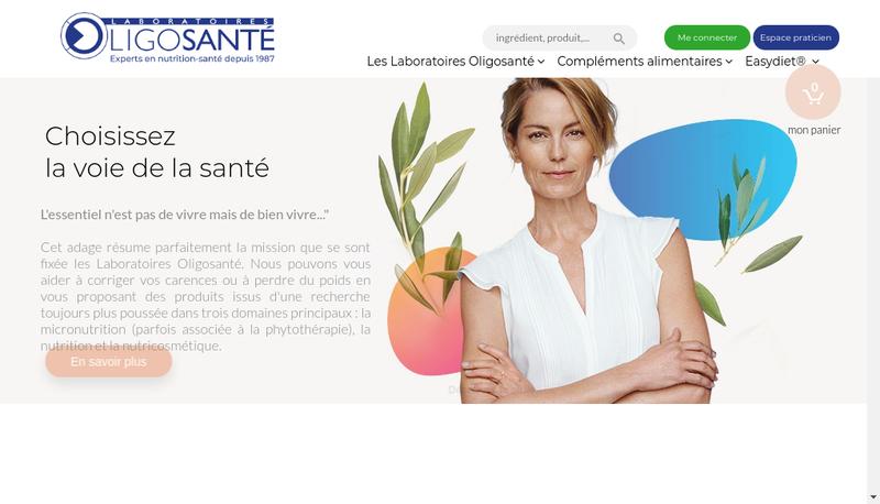 Capture d'écran du site de Laboratoires Oligosante