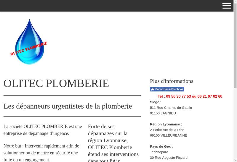 Capture d'écran du site de Olitec Plomberie