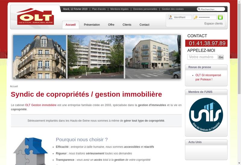 Capture d'écran du site de Olt Gestion Immobiliere