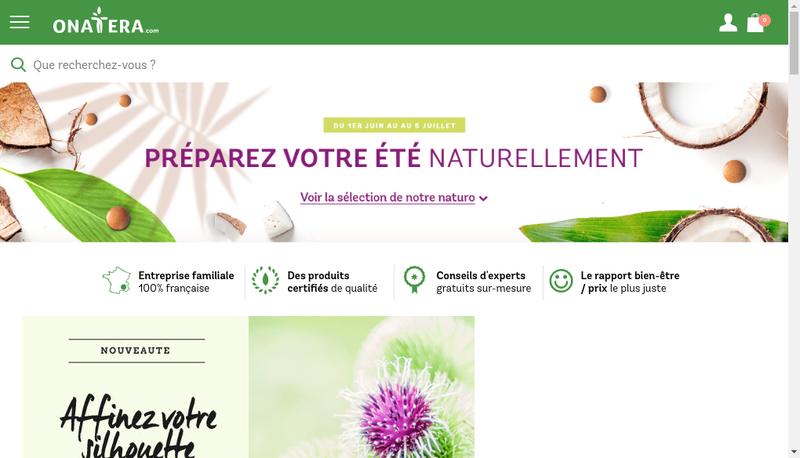 Capture d'écran du site de Onatera