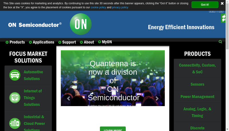 Capture d'écran du site de On Semiconductor France SAS