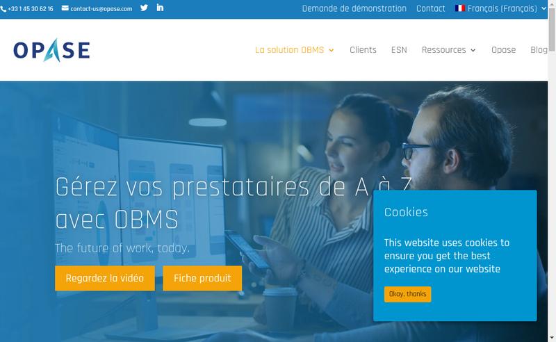 Capture d'écran du site de Opase