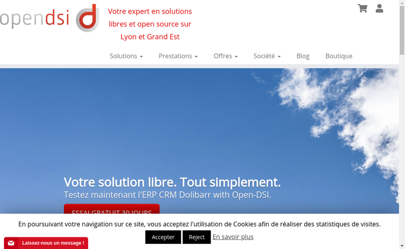 Capture d'écran du site de Open-Dsi