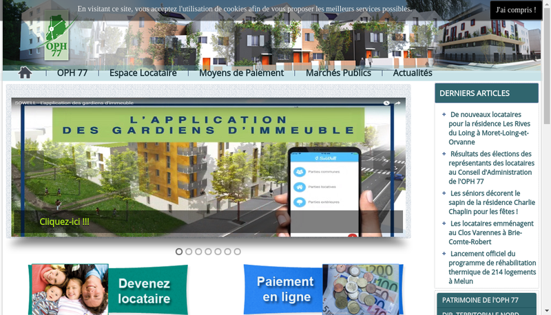Capture d'écran du site de OPH 77