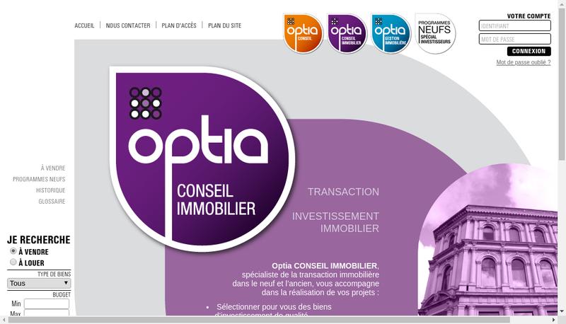 Capture d'écran du site de Optia Conseil Immobilier