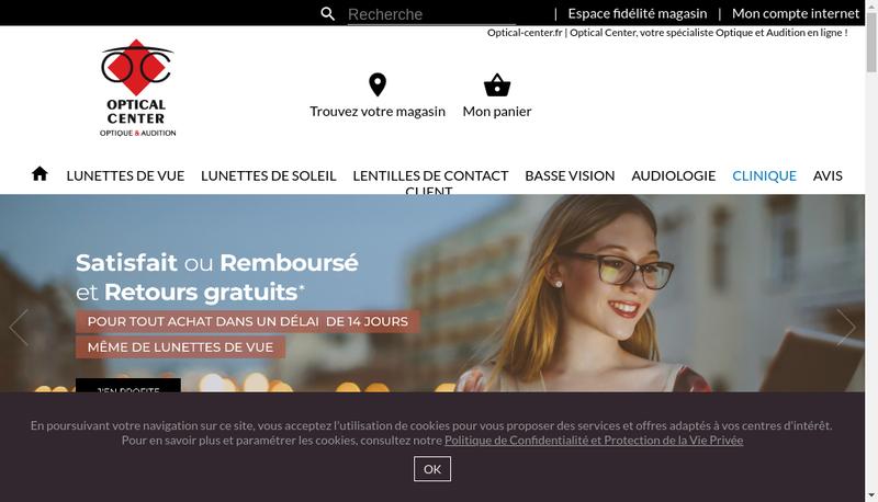 Capture d'écran du site de Optical Center
