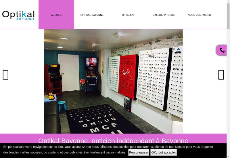 Capture d'écran du site de Optikal Bayonne